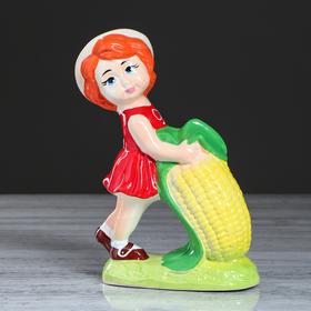 """Копилка """"Девочка с кукурузой"""", глазурь, разноцветная, 23,5 см"""