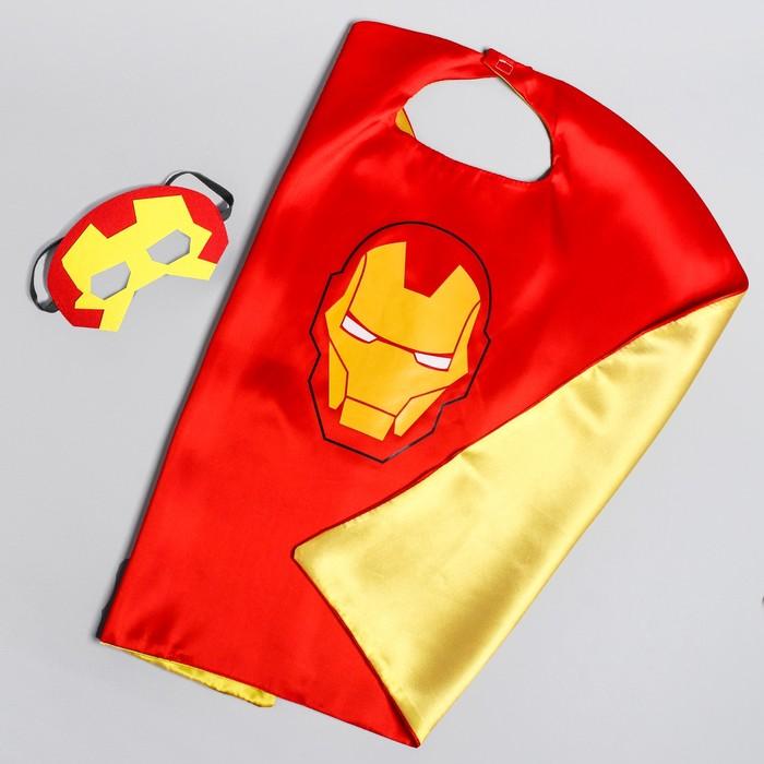 Карнавальный плащ «Почувствуй себя супергероем!», маска, длина 65 см, Мстители: Железный Человек