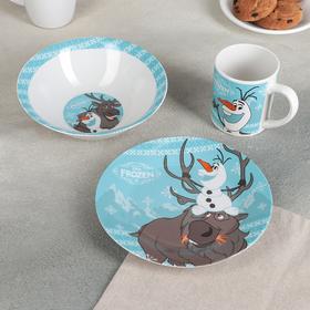 Набор посуды «Холодное сердце. Олаф и Свен», 3 предмета: тарелка 19 см, тарелка глубокая, кружка 220 мл