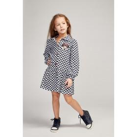 Платье «Аппликация» для девочки, цвет тёмно-синий, рост 110 см