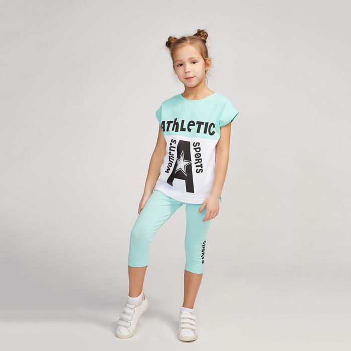 Комплект для девочки, цвет мятный/белый, рост 104 см (56)