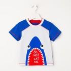 Футболка для мальчика, цвет белый/синий, рост 92 см (52) - фото 2025668