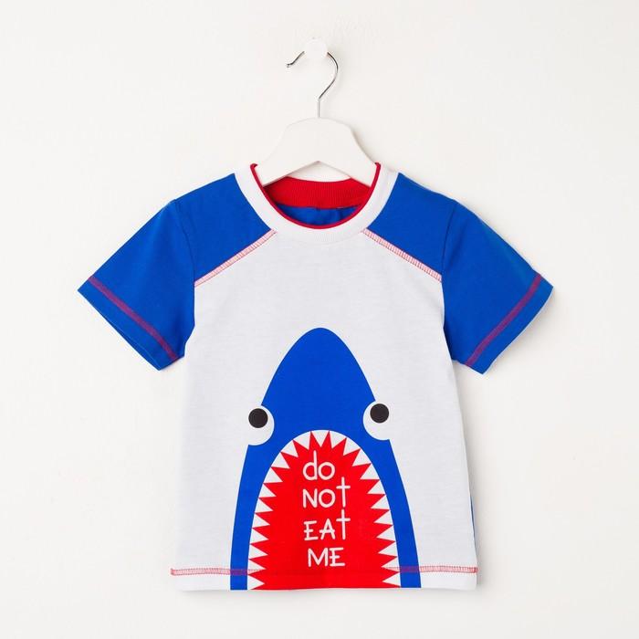 Футболка для мальчика, цвет белый/синий, рост 110 см (60)