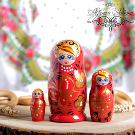 Matryoshka 3cchool Butterfly (red), 15 cm