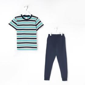 Пижама для мальчика, цвет зелёный/полоска, рост 122-128 см