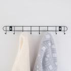 Вешалка настенная на 8 крючков «Лайт», 41×5,5×3 см, цвет чёрный - фото 4641385