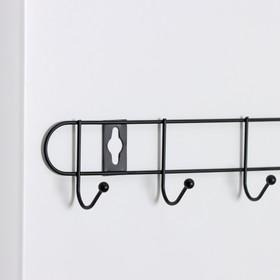 Вешалка настенная на 8 крючков «Лайт», 41×5,5×3 см, цвет чёрный - фото 4641386