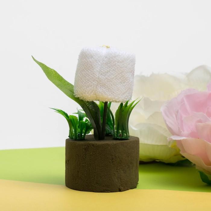 Сувенирное полотенце Белая роза 20*20 см