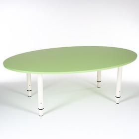 Стол Овальный растущий гр.0-3 на металлокаркасе, Зеленый степной