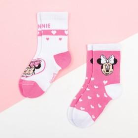"""Набор носков """"Minnie"""", Минни Маус, розовый/белый, 12-14 см"""
