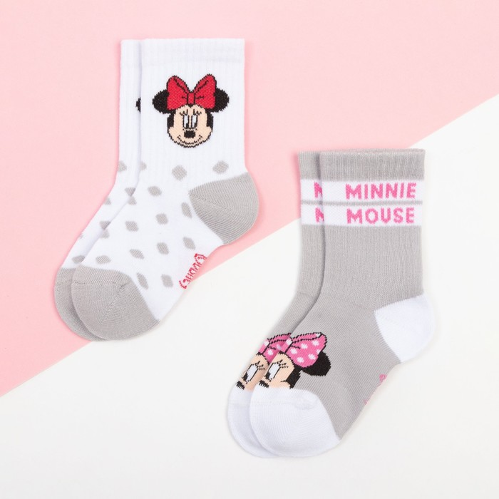 "Набор носков ""Minnie"", Минни Маус, серый/белый, 12-14 см - фото 76661657"