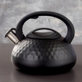 Чайник со свистком Magistro Glow, 3 л, индукция, ручка soft-touch, цвет чёрный