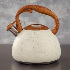 Чайник со свистком Magistro Stone, 2,7 л, ручка soft-touch, индукция, цвет бежевый
