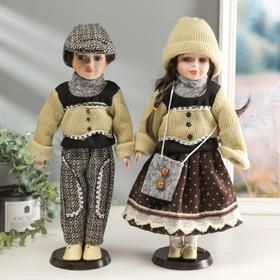 """Collectible doll couple set of 2 PCs """"Tanya and Roman in knitted sweaters"""" 40 cm"""