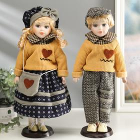 """Collectible doll couple set of 2 PCs """"Pauline and Mitya in sweaters with hearts"""" / 40 cm"""