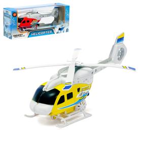 Вертолёт заводной «Спасатель», световые и звуковые эффекты, цвет жёлтый