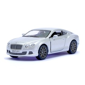 Машина металлическая Bentley Continental GT Speed, 1:38, открываются двери, инерция, цвет серебро
