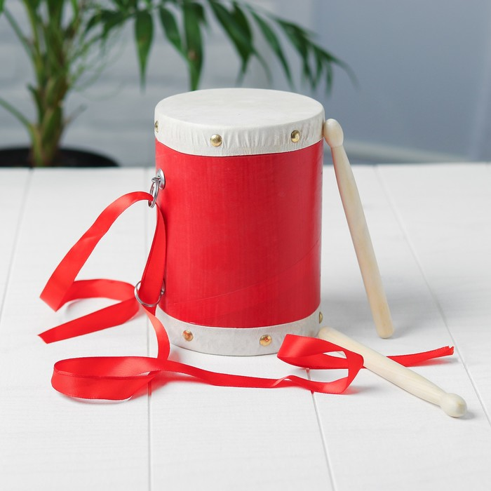 Барабан с 2 палочками на верёвке 10,5×10,5×13 см