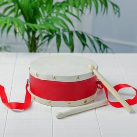 Барабан с 2 палочками на верёвке 16,3×16,3×7,5 см