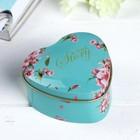 "Box metal heart ""Flowers on blue"" 4х7х7 cm"