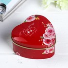 "Box metal heart ""Rose red"" 4х7х7 cm"