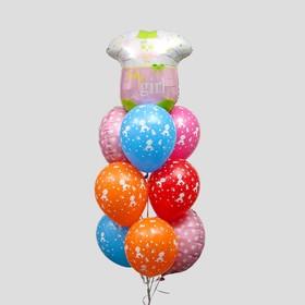 Букет из шаров «У нас девочка», набор 10 шт. + грузик