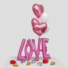 """Букет из шаров 38"""" «Надпись Любовь», заглавные буквы, сердца, набор 6 шт. + грузик, цвет розовый - фото 7639727"""