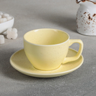 "A couple of tea ""Amelia"", Cup 11,2x8,8x6 cm, 200 ml, saucer 14,2x2 cm, color yellow"