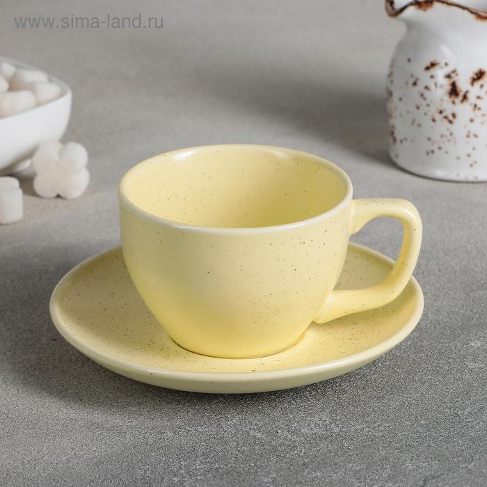 "A couple of tea ""Amelia"", Cup 11,2x8,8x6 cm, 200 ml, saucer 14,2x2 cm, color yellow"