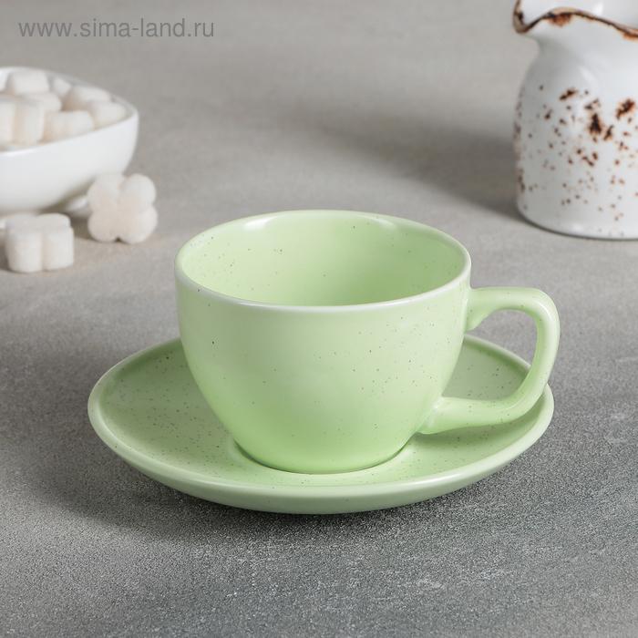 "A couple of tea ""Amelia"", Cup 11,2x8,8x6 cm, 200 ml, saucer 14,2x2 cm, color green"