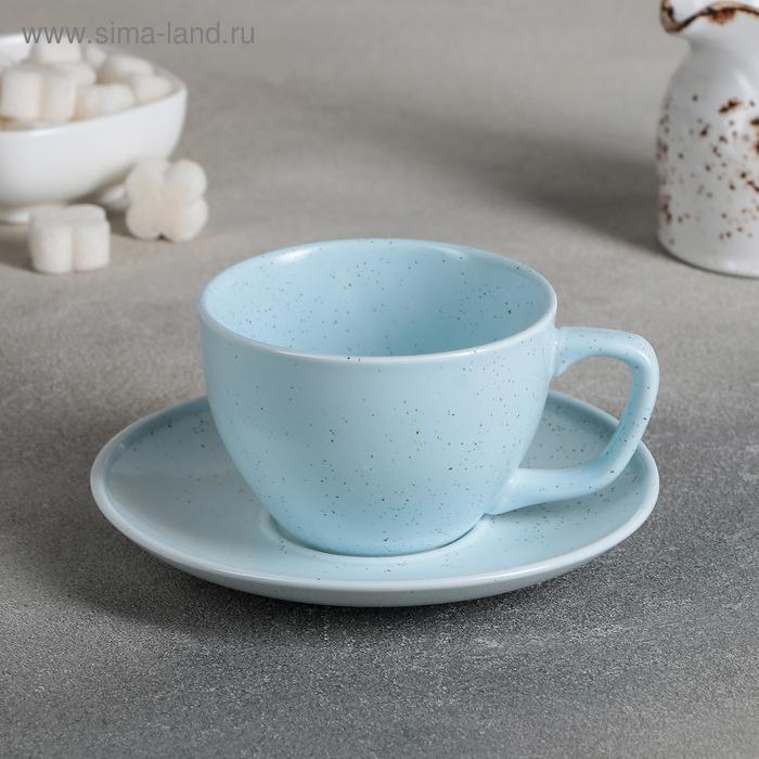 """A couple of tea """"Amelia"""", Cup 11,2x8,8x6 cm, 200 ml, saucer 14,2x2 cm, colour blue"""
