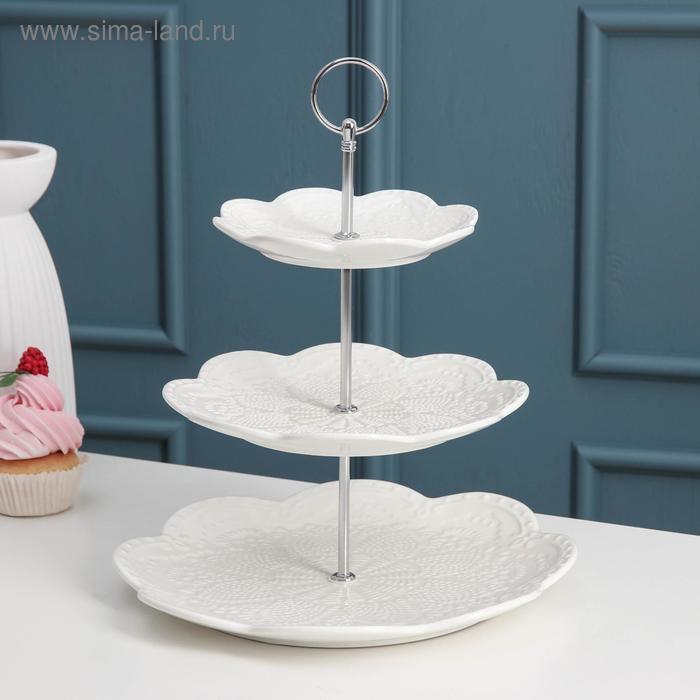 """Dish 3 tier """"Susan"""" 15,5/25,5/27 cm, color white"""