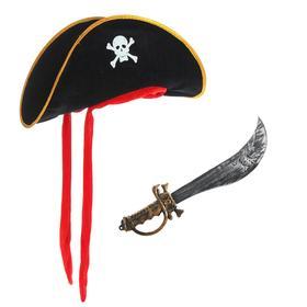 Набор Пирата, шляпа текстиль, сабля