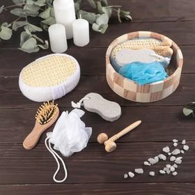 Набор банный, 5 предметов: 2 мочалки, пемза, расчёска, массажёр, цвет МИКС