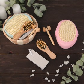 Набор банный, 4 предмета: мочалка, расчёска, пемза, массажёр