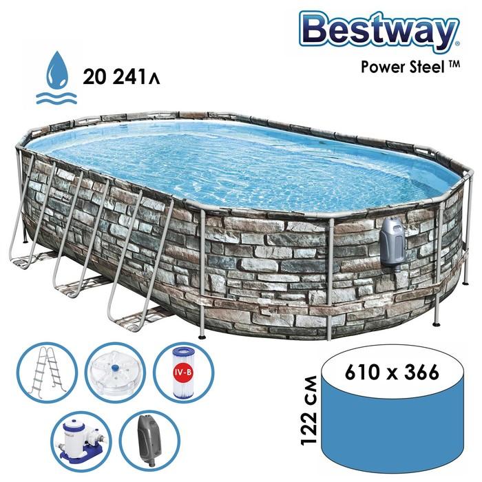 Бассейн каркасный Power Steel, 610 x 366 x 122 см, фильтр-насос, лестница, 56719 Bestway
