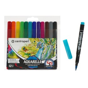 Набор акварельных маркеров 12 цветов Centropen 8683, 1.0-9.0 мм, кистевые, европодвес