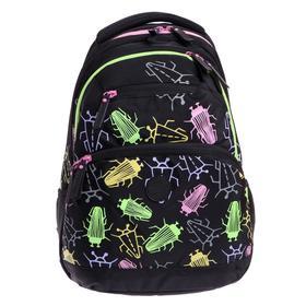 Рюкзак молодёжный с эргономичной спинкой Grizzly, 42 х 31 х 23, для девочек, чёрные жуки