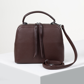 Сумка женская, 2 отдела на молниях, наружный карман, длинный ремень, стропа, цвет коричневый