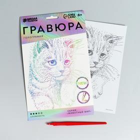 Гравюра «Пушистый котенок» A5, с металлическим голографическим эффектом