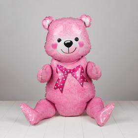 """Шар фольгированный 36"""" «Мишка», цвет розовый"""