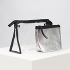 Set of cosmetic bags 2/1 Shine 23*7*14 Department zip, silver