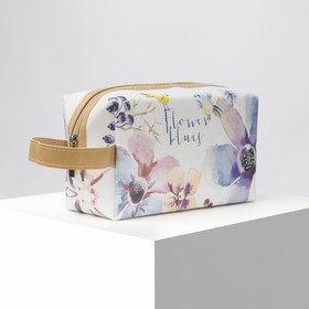 Cosmetic bag road Flowers 18,5*8,5*11, otd zipper with handle, matte
