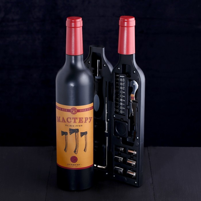 """Набор инструментов в формовой бутылке """"Мастеру на все руки"""", подарочная упаковка, 22 предмета"""