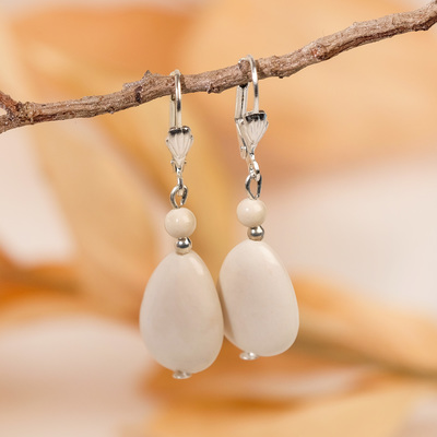 """Earrings """"white agate"""" drop with bead"""