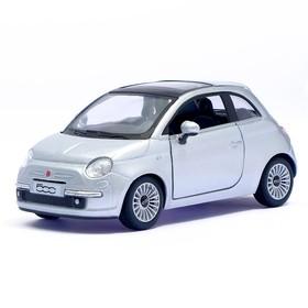 Машина металлическая Fiat 500, 1:28, открываются двери, инерция, цвет серый