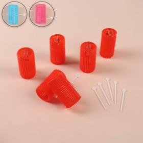 Hair curlers plastic with latch d3*6cm 6pcs set MIX QF