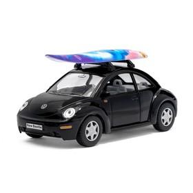 Машина металлическая VW New Beetle, 1:32, открываются двери, инерция, цвет чёрный
