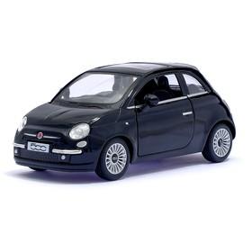 Машина металлическая Fiat 500, 1:28, открываются двери, инерция, цвет чёрный
