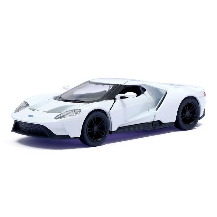 Машина металлическая Ford GT, 1:38, открываются двери, инерция, цвет белый - фото 105651733
